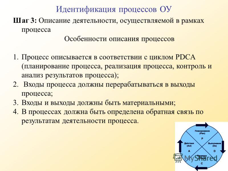 Идентификация процессов ОУ Шаг 3: Описание деятельности, осуществляемой в рамках процесса Особенности описания процессов 1.Процесс описывается в соответствии с циклом PDCA (планирование процесса, реализация процесса, контроль и анализ результатов про