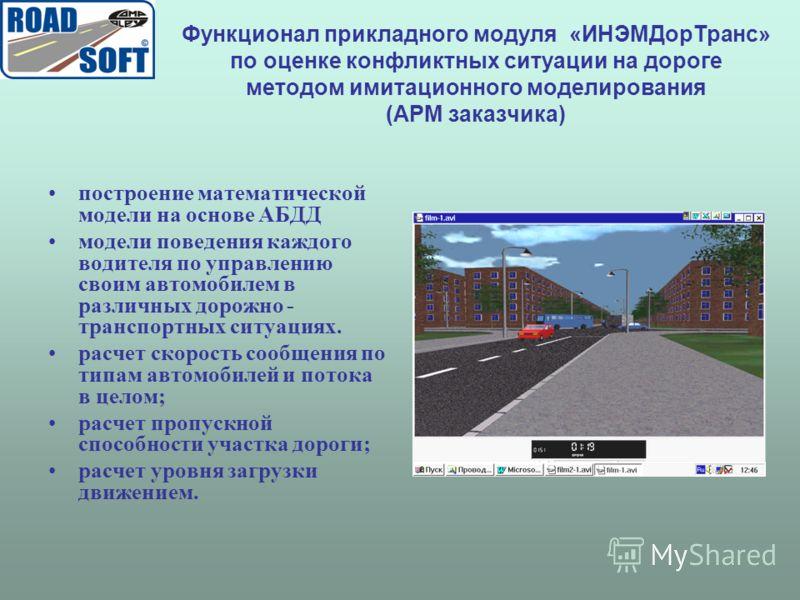 Функционал прикладного модуля «ИНЭМДорТранс» по оценке конфликтных ситуации на дороге методом имитационного моделирования (АРМ заказчика) построение математической модели на основе АБДД модели поведения каждого водителя по управлению своим автомобиле