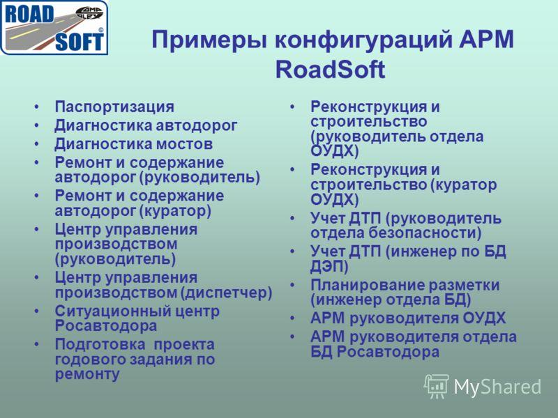 Примеры конфигураций АРМ RoadSoft Паспортизация Диагностика автодорог Диагностика мостов Ремонт и содержание автодорог (руководитель) Ремонт и содержание автодорог (куратор) Центр управления производством (руководитель) Центр управления производством