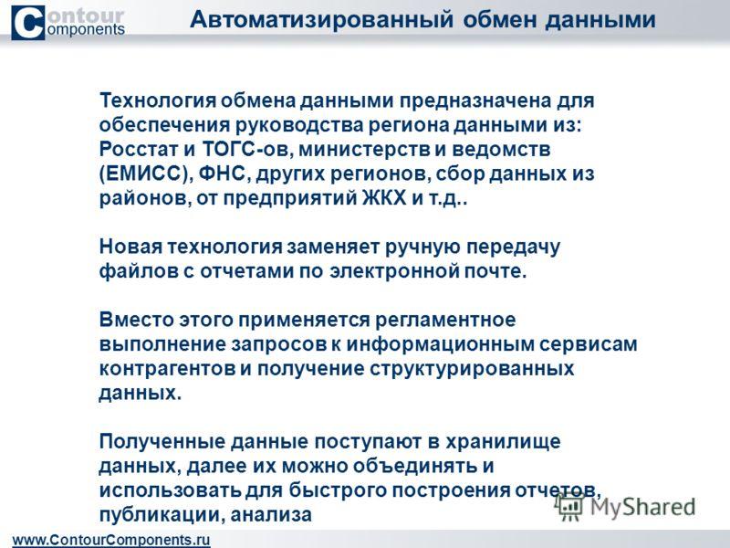 Автоматизированный обмен данными www.ContourComponents.ru Технология обмена данными предназначена для обеспечения руководства региона данными из: Росстат и ТОГС-ов, министерств и ведомств (ЕМИСС), ФНС, других регионов, сбор данных из районов, от пред