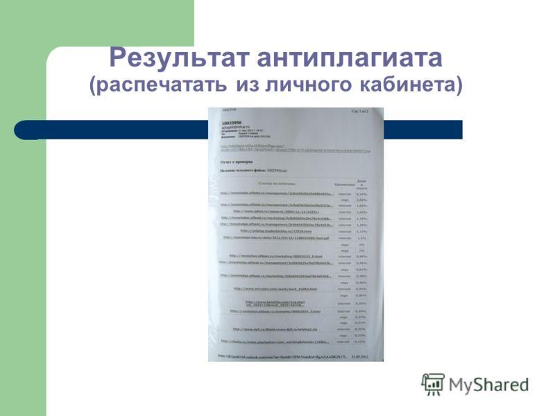 Результат антиплагиата (распечатать из личного кабинета)