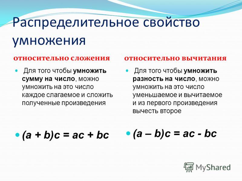 ( 5 + 4 ) 3 = 5 3 + 4 3 ВЫВОД: Для того чтобы умножить сумму на число, можно умножить на это число каждое слагаемое и сложить полученные произведения. Распределительное свойство умножения относительно сложения