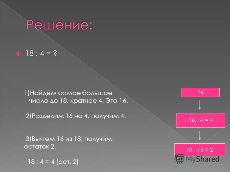 18 : 4 = ? 1)Найдём самое большое число до 18, кратное 4. Это 16. 2)Разделим 16 на 4, получим 4. 3)Вычтем 16 из 18, получим остаток 2. 18 : 4 = 4 (ост. 2) 16 16 : 4 = 4 18 - 16 = 2