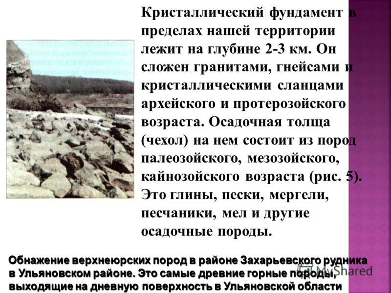 Кристаллический фундамент в пределах нашей территории лежит на глубине 2-3 км. Он сложен гранитами, гнейсами и кристаллическими сланцами архейского и протерозойского возраста. Осадочная толща (чехол) на нем состоит из пород палеозойского, мезозойск