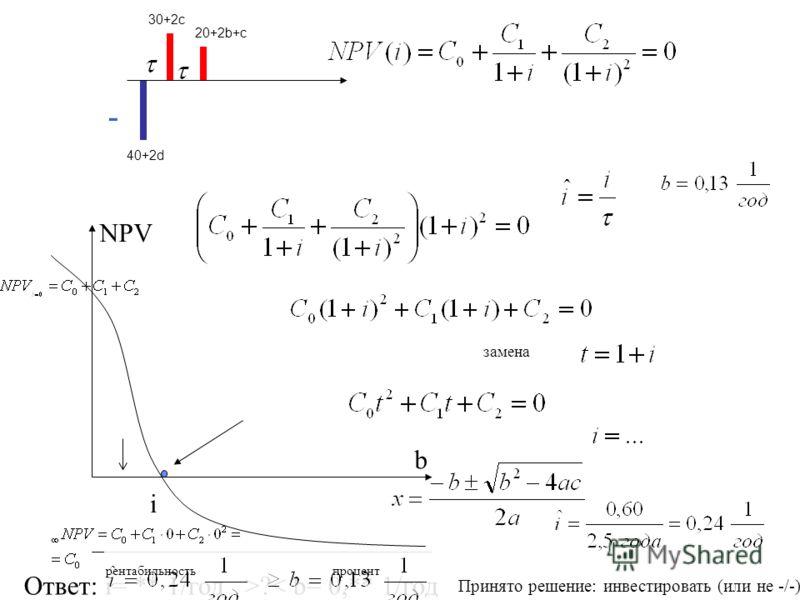 40+2d 30+2c 20+2b+c - NPV b i Ответ: i= ** 1/год >?< b= 0,** 1/год процентрентабильность Принято решение: инвестировать (или не -/-) замена