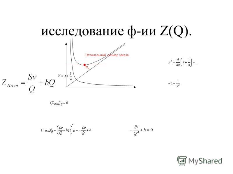 исследование ф-ии Z(Q). Оптимальный размер заказа