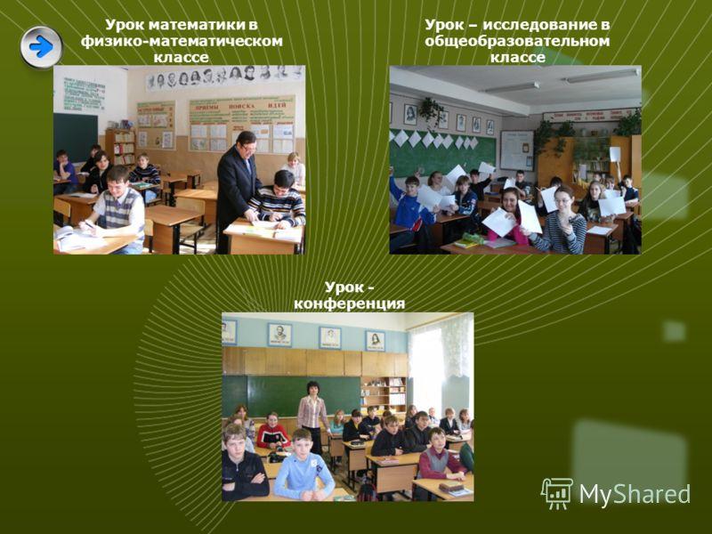 Урок математики в физико-математическом классе Урок – исследование в общеобразовательном классе Урок - конференция