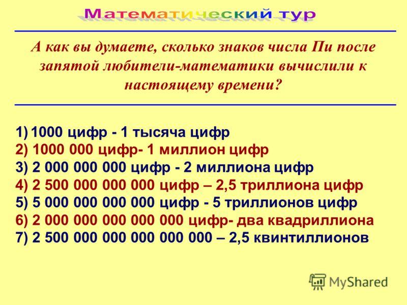 А как вы думаете, сколько знаков числа Пи после запятой любители-математики вычислили к настоящему времени? 1)1000 цифр - 1 тысяча цифр 2) 1000 000 цифр- 1 миллион цифр 3) 2 000 000 000 цифр - 2 миллиона цифр 4) 2 500 000 000 000 цифр – 2,5 триллиона