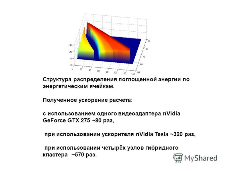 Структура распределения поглощенной энергии по энергетическим ячейкам. Полученное ускорение расчета: с использованием одного видеоадаптера nVidia GeForce GTX 275 ~80 раз, при использовании ускорителя nVidia Tesla ~320 раз, при использовании четырёх у
