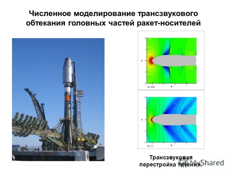 Численное моделирование трансзвукового обтекания головных частей ракет-носителей Трансзвуковая перестройка течения.