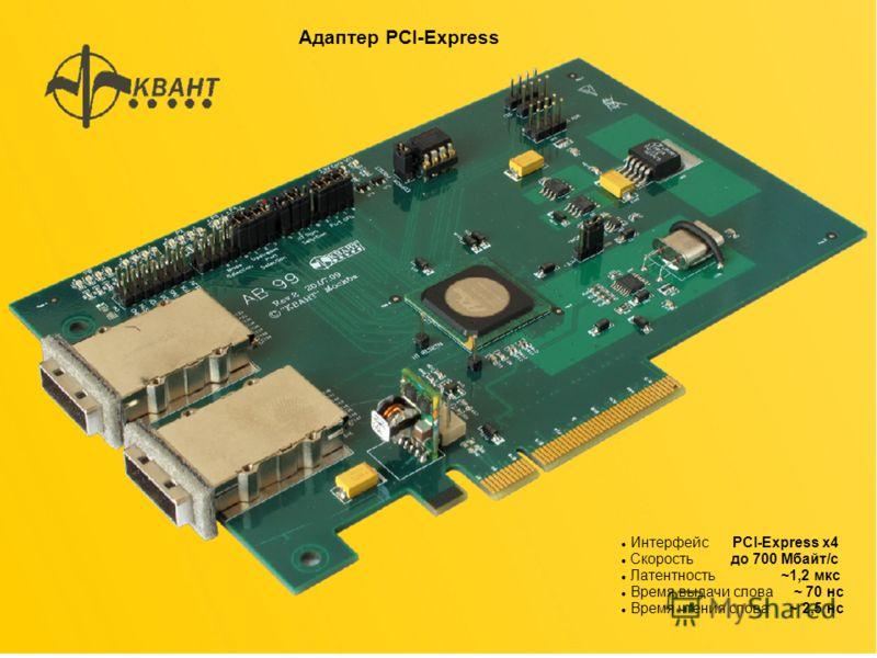 Адаптер PCI-Express Интерфейс PCI-Express x4 Cкорость до 700 Мбайт/с Латентность ~1,2 мкс Время выдачи слова ~ 70 нс Время чтения слова ~ 2,5 нс