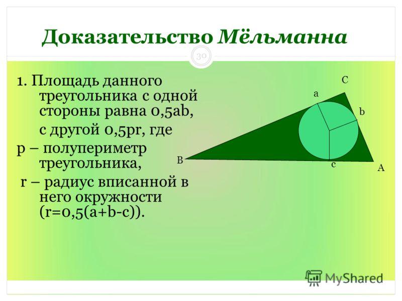 Доказательство Мёльманна 1. Площадь данного треугольника с одной стороны равна 0,5ab, с другой 0,5pr, где p – полупериметр треугольника, r – радиус вписанной в него окружности (r=0,5(a+b-c)). A C B a b c 30