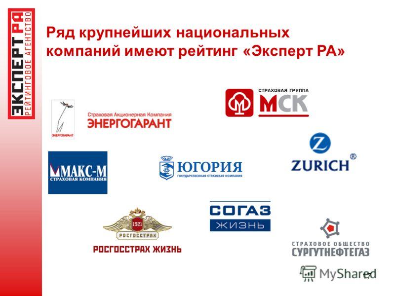 17 Ряд крупнейших национальных компаний имеют рейтинг «Эксперт РА»