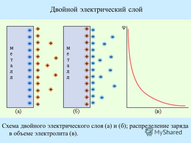 Двойной электрический слой Схема двойного электрического слоя (а) и (б); распределение заряда в объеме электролита (в).