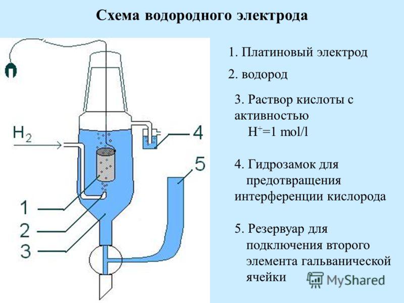 Схема водородного электрода 1. Платиновый электрод 2. водород 3. Раствор кислоты с активностью H + =1 mol/l 4. Гидрозамок для предотвращения интерференции кислорода 5. Резервуар для подключения второго элемента гальванической ячейки