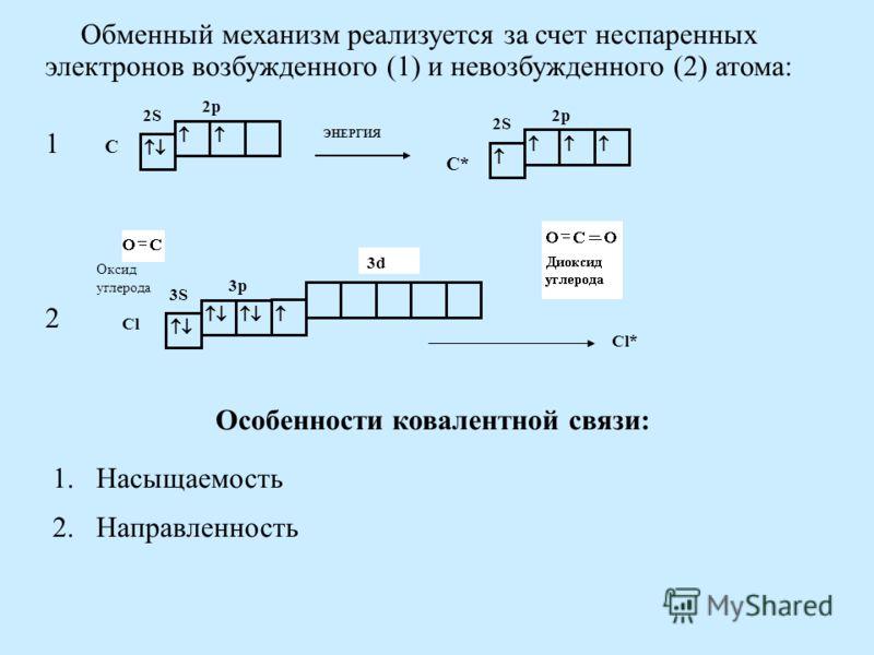 Обменный механизм реализуется за счет неспаренных электронов возбужденного (1) и невозбужденного (2) атома: 2S 2p С 2S 2p С* ЭНЕРГИЯ Оксид углерода 3S 3p 3d Cl Cl* 1 2 Особенности ковалентной связи: 1.Насыщаемость 2.Направленность