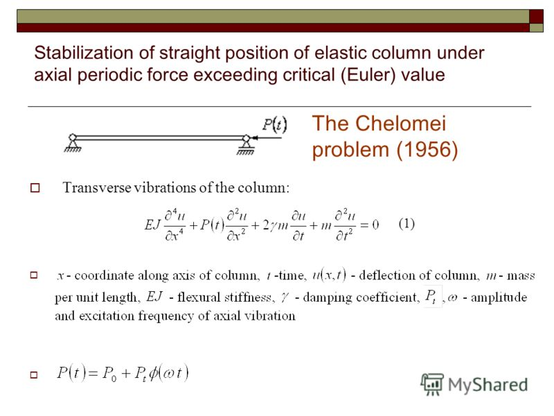 Stabilization of straight position of elastic column under axial periodic force exceeding critical (Euler) value Transverse vibrations of the column: (1) The Chelomei problem (1956)