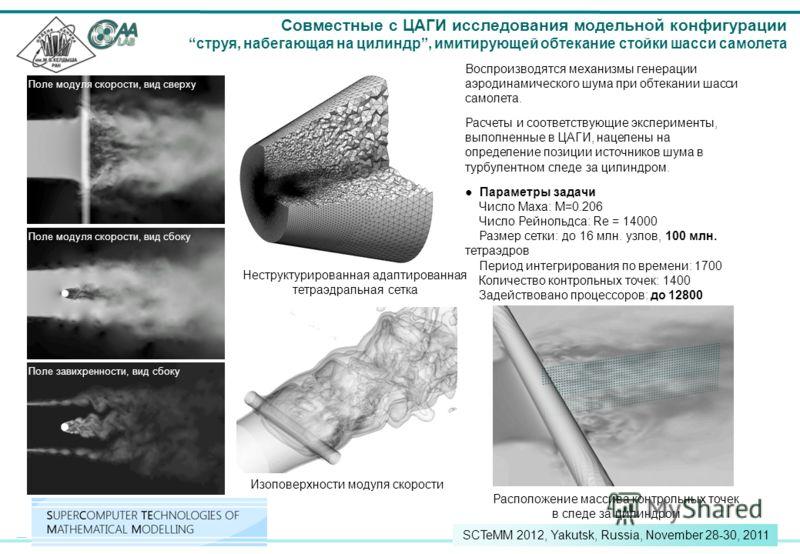 26 SCTeMM 2012, Yakutsk, Russia, November 28-30, 2011 Вид сбоку Вид сверху Расположение массива контрольных точек в следе за цилиндром Совместные с ЦАГИ исследования модельной конфигурации струя, набегающая на цилиндр, имитирующей обтекание стойки ша