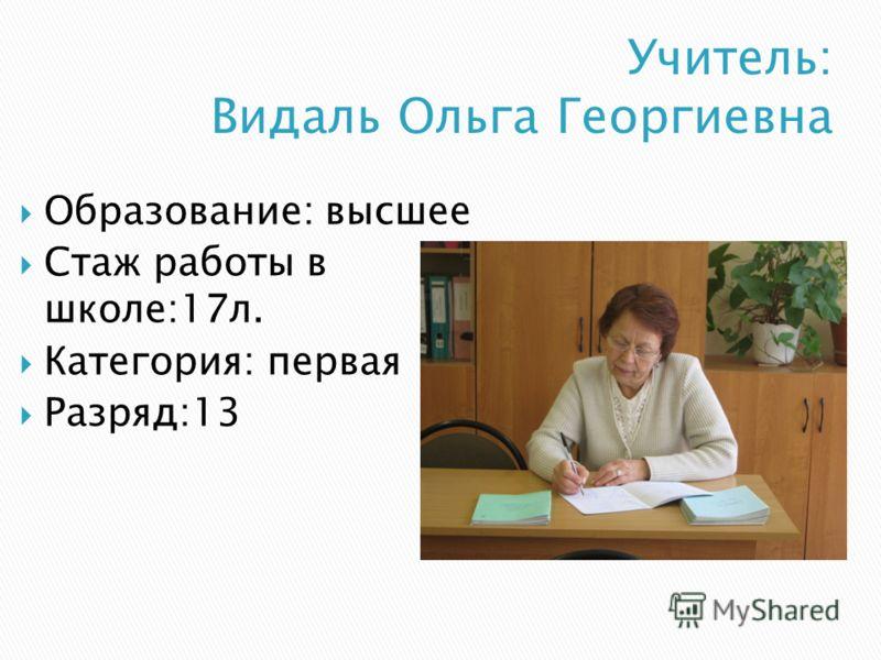 Образование: высшее Стаж работы в школе:17л. Категория: первая Разряд:13