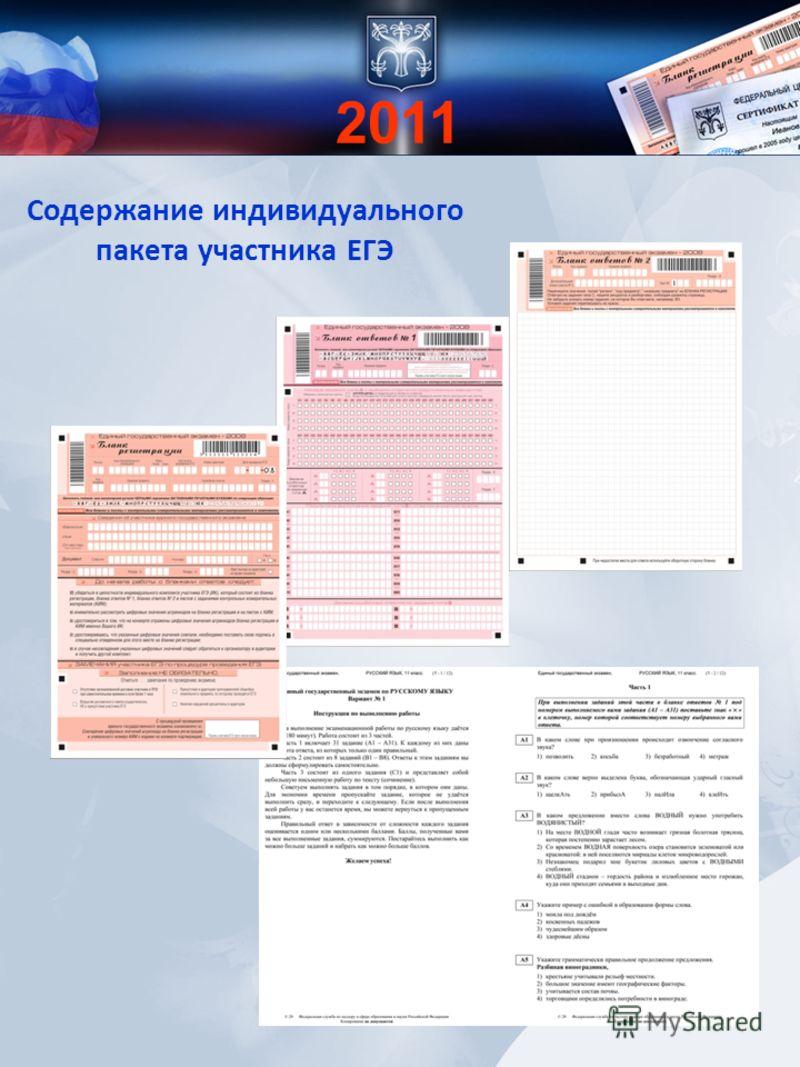 Содержание индивидуального пакета участника ЕГЭ 2011