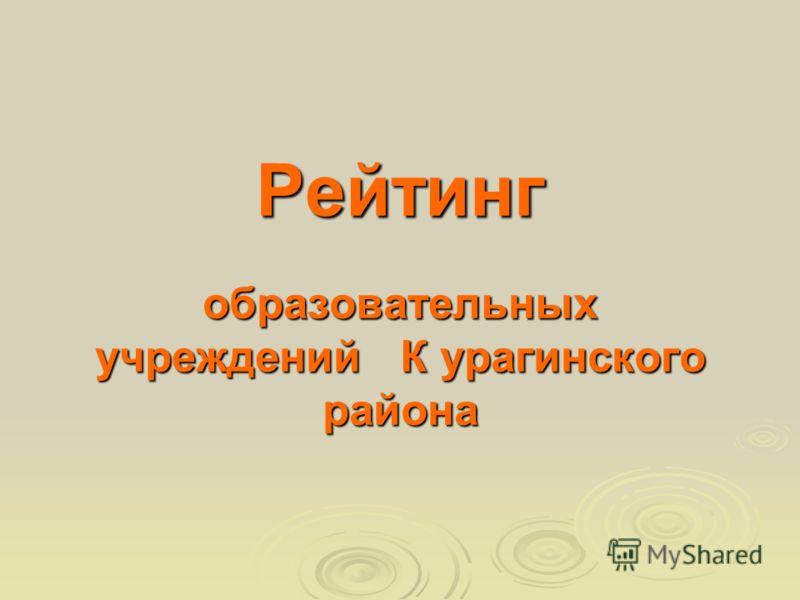 Рейтинг образовательных учреждений К урагинского района
