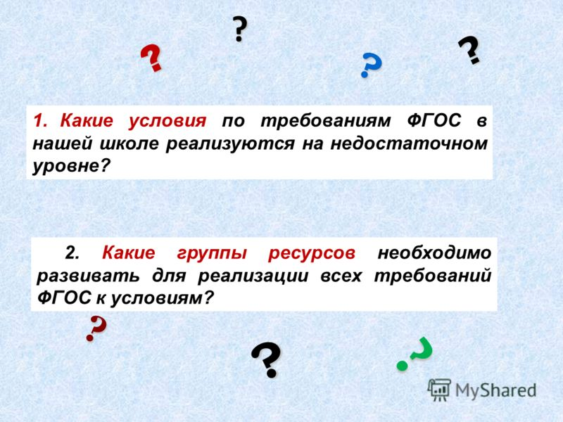 2. Какие группы ресурсов необходимо развивать для реализации всех требований ФГОС к условиям? ? ? ? ? ? ? ? 1.Какие условия по требованиям ФГОС в нашей школе реализуются на недостаточном уровне?