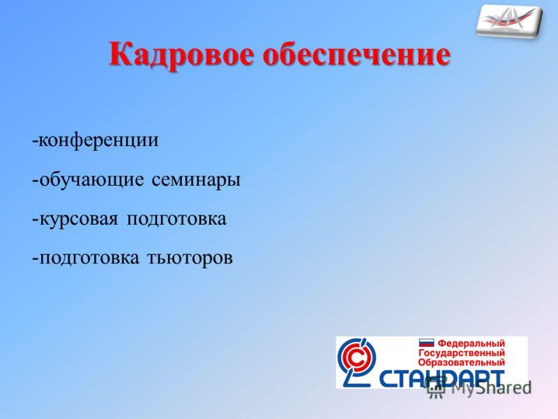 -конференции -обучающие семинары -курсовая подготовка -подготовка тьюторов Кадровое обеспечение