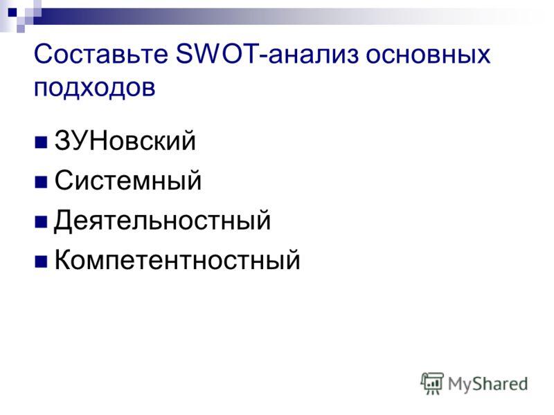 Составьте SWOT-анализ основных подходов ЗУНовский Системный Деятельностный Компетентностный