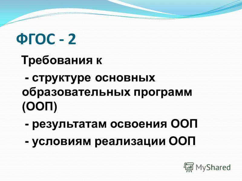 ФГОС - 2 Требования к - структуре основных образовательных программ (ООП) - результатам освоения ООП - условиям реализации ООП