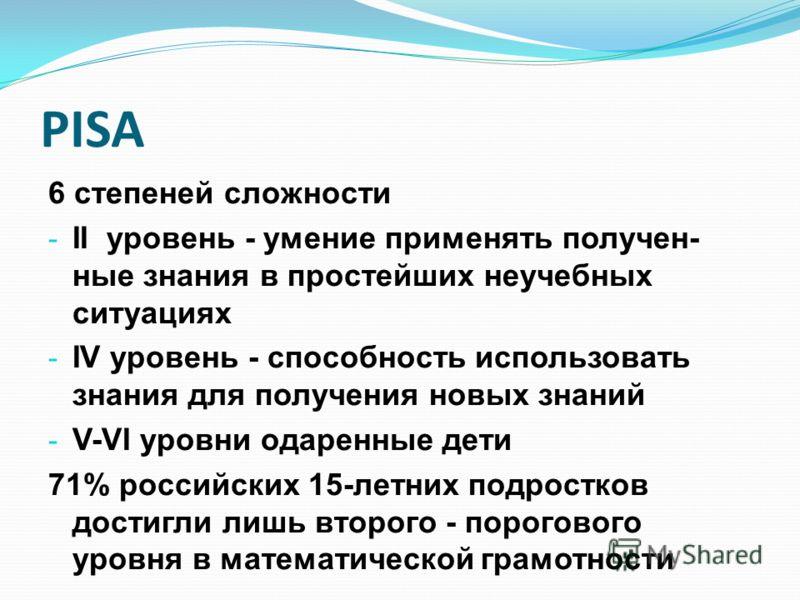 PISA 6 степеней сложности - II уровень - умение применять получен- ные знания в простейших неучебных ситуациях - IV уровень - способность использовать знания для получения новых знаний - V-VI уровни одаренные дети 71% российских 15-летних подростков