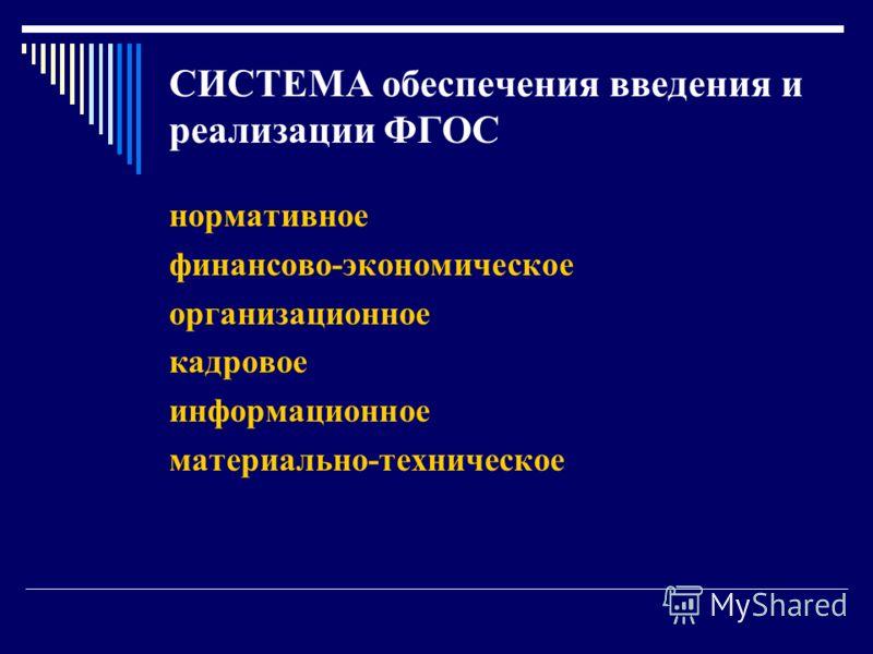 СИСТЕМА обеспечения введения и реализации ФГОС нормативное финансово-экономическое организационное кадровое информационное материально-техническое