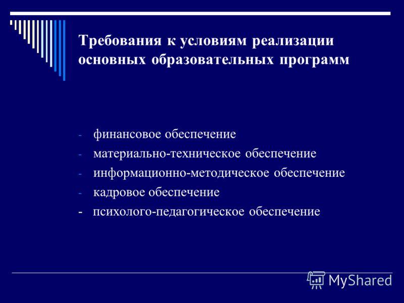 Требования к условиям реализации основных образовательных программ - финансовое обеспечение - материально-техническое обеспечение - информационно-методическое обеспечение - кадровое обеспечение - психолого-педагогическое обеспечение