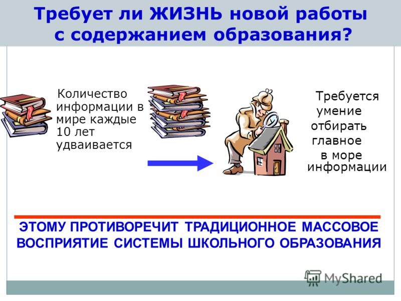 Требует ли ЖИЗНЬ новой работы с содержанием образования? Количество информации в мире каждые 10 лет удваивается Требуется умение отбирать главное в море информации ЭТОМУ ПРОТИВОРЕЧИТ ТРАДИЦИОННОЕ МАССОВОЕ ВОСПРИЯТИЕ СИСТЕМЫ ШКОЛЬНОГО ОБРАЗОВАНИЯ