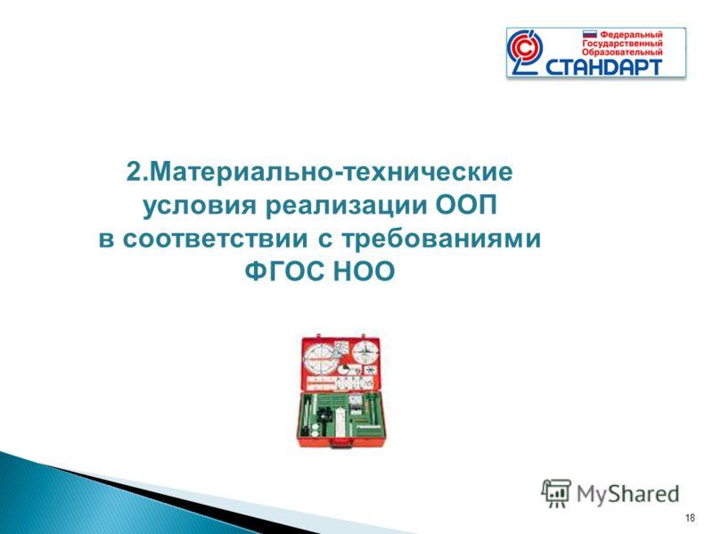 18 2.Материально-технические условия реализации ООП в соответствии с требованиями ФГОС НОО