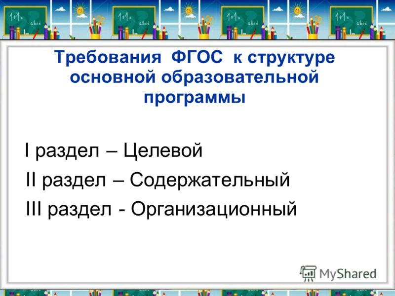 Требования ФГОС к структуре основной образовательной программы I раздел – Целевой II раздел – Содержательный III раздел - Организационный