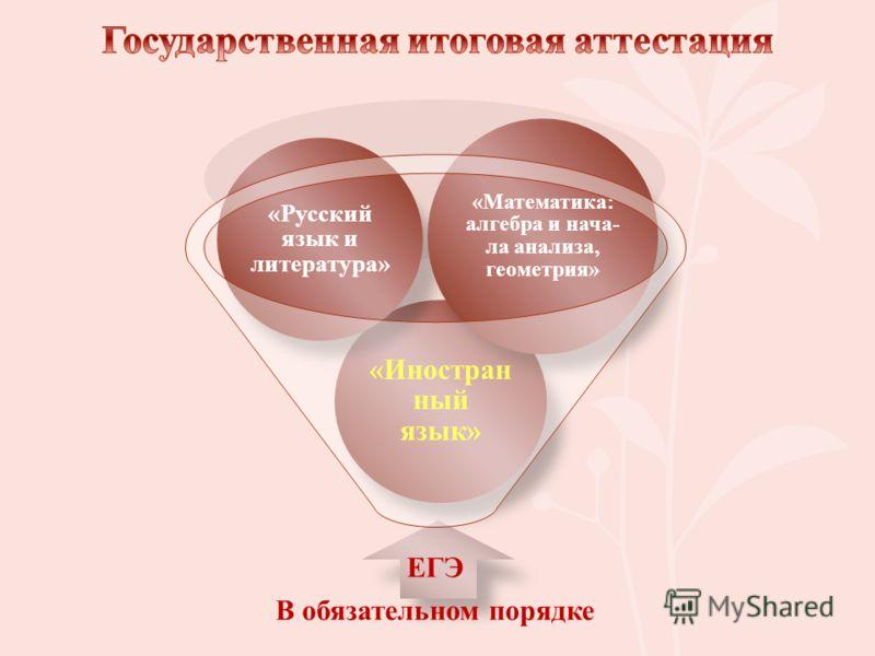 ЕГЭ В обязательном порядке «Иностран ный язык» «Русский язык и литература» «Математика: алгебра и нача- ла анализа, геометрия»