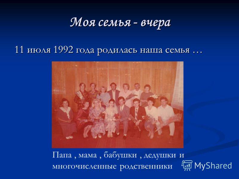 Моя семья - вчера 11 июля 1992 года родилась наша семья … Папа, мама, бабушки, дедушки и многочисленные родственники