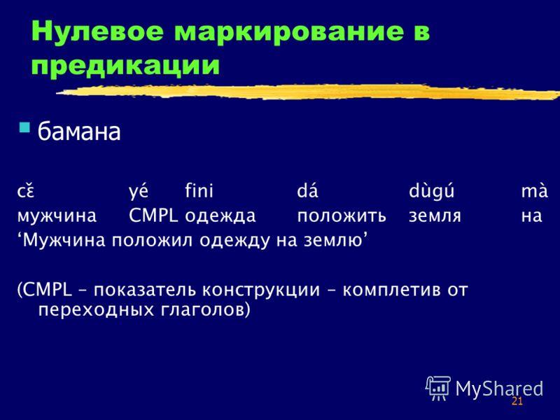21 Нулевое маркирование в предикации бамана cɛ̌yefinidadùgumà мужчинаCMPLодеждаположитьземляна Мужчина положил одежду на землю (CMPL – показатель конструкции – комплетив от переходных глаголов)