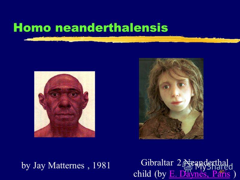 40 Homo neanderthalensis Gibraltar 2 Neanderthal child (by E. Daynès, Paris )E. Daynès, Paris by Jay Matternes, 1981