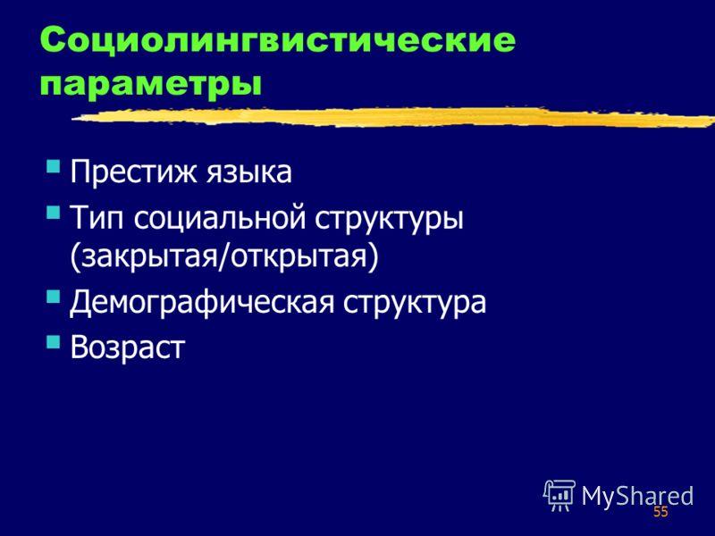 55 Социолингвистические параметры Престиж языка Тип социальной структуры (закрытая/открытая) Демографическая структура Возраст