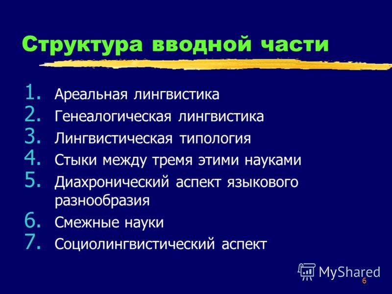 6 Структура вводной части 1. Ареальная лингвистика 2. Генеалогическая лингвистика 3. Лингвистическая типология 4. Стыки между тремя этими науками 5. Диахронический аспект языкового разнообразия 6. Смежные науки 7. Социолингвистический аспект