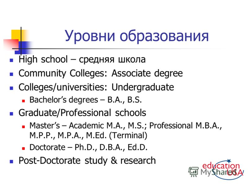 Уровни образования High school – средняя школа Community Colleges: Associate degree Colleges/universities: Undergraduate Bachelors degrees – B.A., B.S. Graduate/Professional schools Masters – Academic M.A., M.S.; Professional M.B.A., M.P.P., M.P.A.,