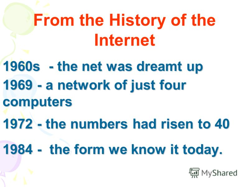 1972 - the numbers had risen to 40 1984 - the form we know it today. 1960s - the net was dreamt up 1969 - a network of just four computers From the History of the Internet