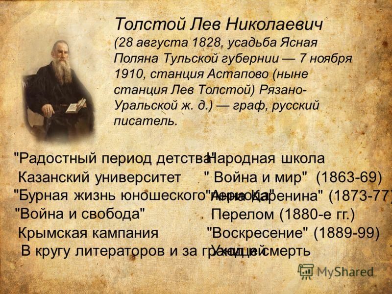 Толстой Лев Николаевич (28 августа 1828, усадьба Ясная Поляна Тульской губернии 7 ноября 1910, станция Астапово (ныне станция Лев Толстой) Рязано- Уральской ж. д.) граф, русский писатель.