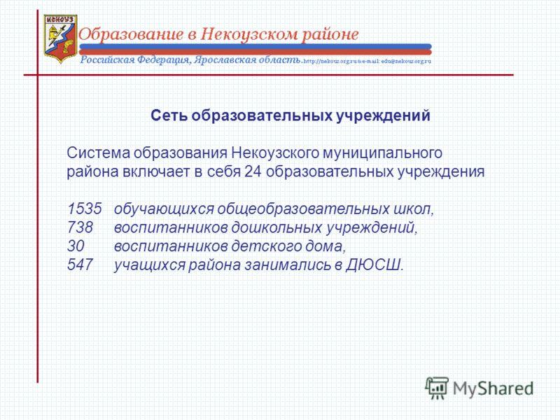 Сеть образовательных учреждений Система образования Некоузского муниципального района включает в себя 24 образовательных учреждения 1535 обучающихся общеобразовательных школ, 738 воспитанников дошкольных учреждений, 30 воспитанников детского дома, 54