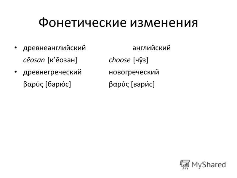 Фонетические изменения древнеанглийскийанглийский cēosan [ке̄озан]choose [чӯз] древнегреческийновогреческий βαρς [барюс]βαρύς [варис]