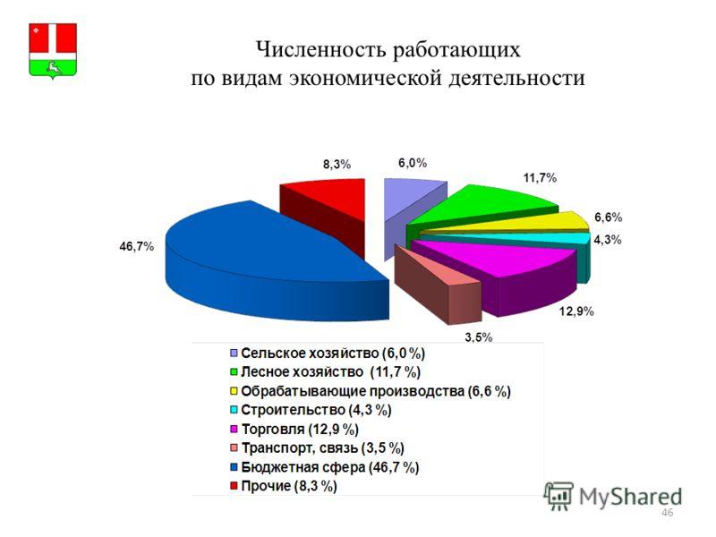 46 Численность работающих по видам экономической деятельности Герб МР(ГО)