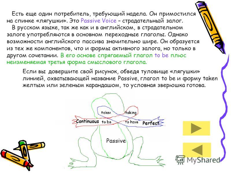 Есть еще один потребитель, требующий надела. Он примостился на спинке «лягушки». Это Passive Voice – страдательный залог. В русском языке, так же как и в английском, в страдательном залоге употребляются в основном переходные глаголы. Однако возможнос