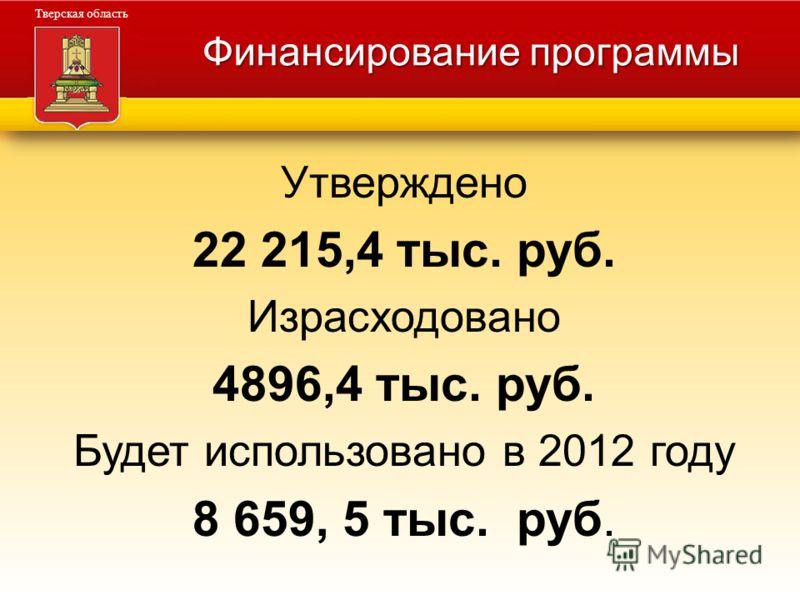 Администрация Тверской области Тверская область Финансирование программы Утверждено 22 215,4 тыс. руб. Израсходовано 4896,4 тыс. руб. Будет использовано в 2012 году 8 659, 5 тыс. руб.