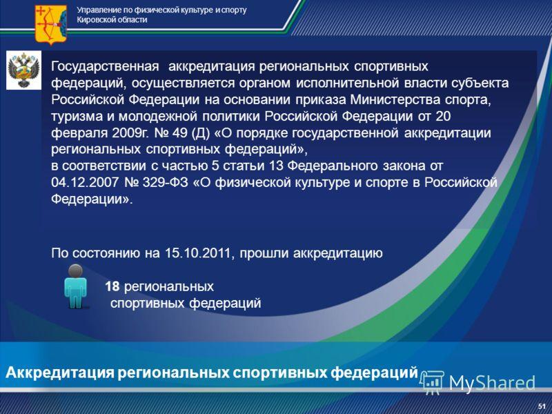 Аккредитация региональных спортивных федераций Управление по физической культуре и спорту Кировской области По состоянию на 15.10.2011, прошли аккредитацию 18 региональных спортивных федераций Государственная аккредитация региональных спортивных феде